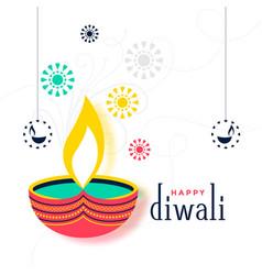 Flat colorful happy diwali decorative card design vector