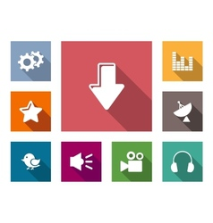 Flat media business and technology icons vector image