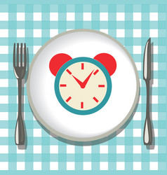 Flatware on checkered tablecloth empty plate with vector