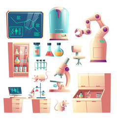 Future science lab equipment cartoon set vector