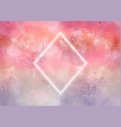 Galaxy background with rhombus in neon vector