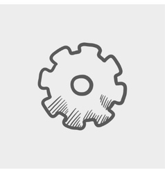 Gear sketch icon vector image