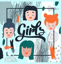Girlish hand drawn design childish background vector