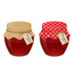 Glass jars with tasty strawberry jam with tags vector