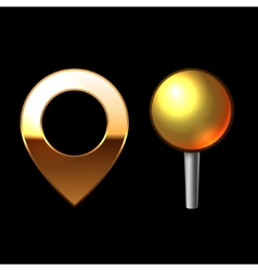 Gold Mapping Pins Set Metal round shape with color vector image