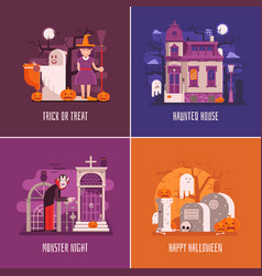 halloween concept cards and banners vector image