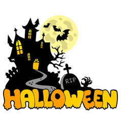 Halloween house with sign 1 vector