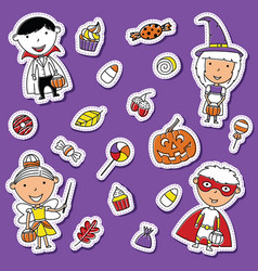 Halloween toddlers and candies sticker set vector