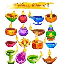 Happy Diwali background coloful watercolor diya vector image