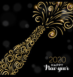 happy new year 2020 card gold party drink vector image