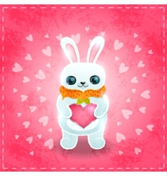 Happy Valentines day card with rabbit and heart vector image