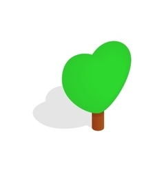 Heart shape tree icon isometric 3d style vector