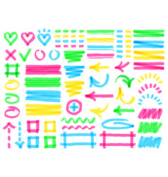 highlight markers colorful marker strokes yellow vector image