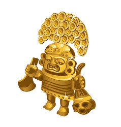 Inca indian ritual figurine from gold a symbol of vector