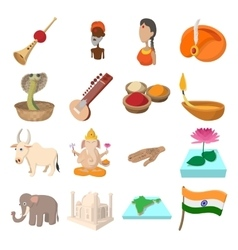 India icons cartoon vector