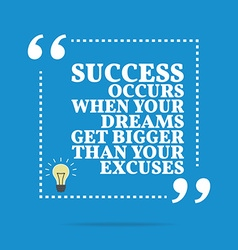 Inspirational motivational quote Success occurs vector
