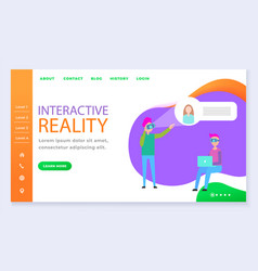interactive reality experience people website vector image