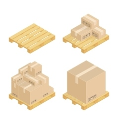 Isometric cardboard boxes and pallets vector