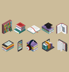 Isometric colorful books collection vector
