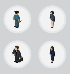 Isometric person set of investor officer vector