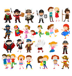 Kids in different outfits vector