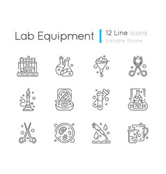 Lab equipment linear icons set vector