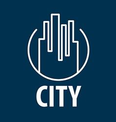 Logo outline night city vector