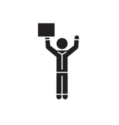 man with hands up and advertising black vector image