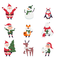 new year characters with santa claus elf and vector image