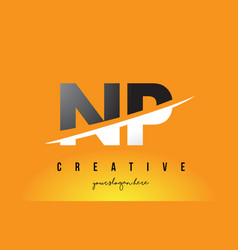 Np n p letter modern logo design with yellow vector
