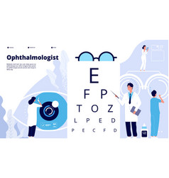 Ophthalmology landing ophthalmologist checks vector