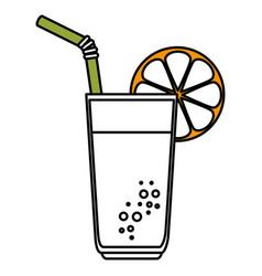 Orange juice fruit glass icon vector