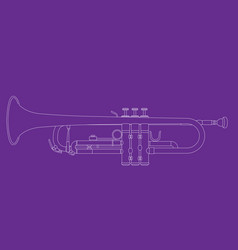 Outline of trumpet - musical instrument vector