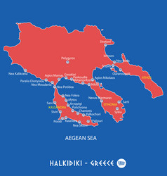 Peninsula of halkidiki in greece red map vector