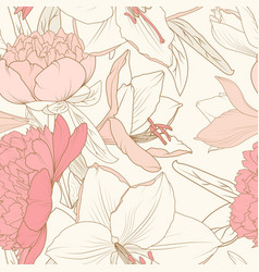 peony lily flowers composition bouquet seamless vector image