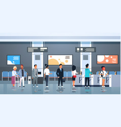 People standing line queue at automatic fare gate vector