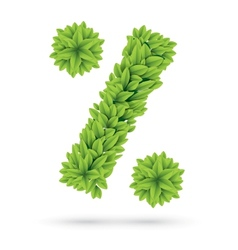 Percent sign of green spring leafs vector image