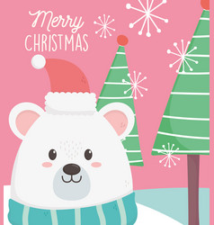 polar bear with hat scarf and trees merry vector image