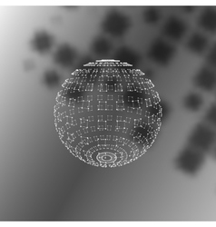 Polygonal Element Sphere with Lines and Dots vector image