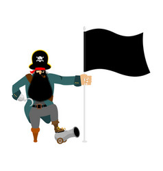 ppirate and flag eye patch and smoking pipe vector image