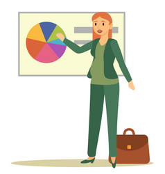 Pregnant woman working on business presentation vector