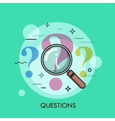 Question mark under review with magnifying glass vector