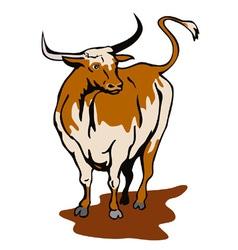 Raging Bull Attacking Retro vector