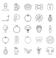 Regimen icons set outline style vector