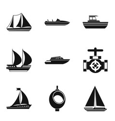 River basin icons set simple style vector
