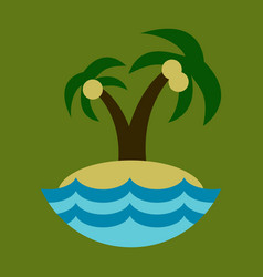Sea view from the beach palm tree on shore vector