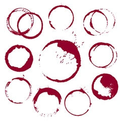Set of 10 round ink wine stains isolated on white vector