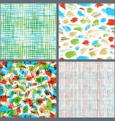 Set of hand-drawn seamless brush strokes patterns vector