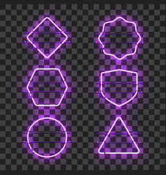 set of realistic glowing purple neon frames vector image