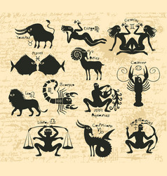 Set of zodiac signs on the manuscript vector